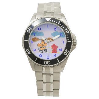 Pにユーモアのあるな腕時計を恋しく思う犬のアルファベット 腕時計
