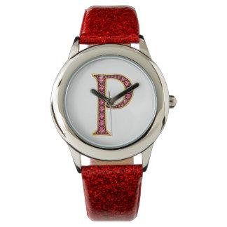 """Pののどの""""ルビー色の""""モノグラム 腕時計"""