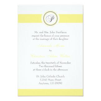 Pのモノグラムの点の円の結婚式招待状(黄色) カード