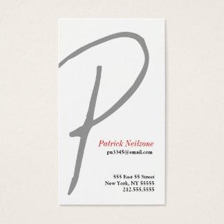Pの手紙のアルファベットの名刺の灰色 名刺