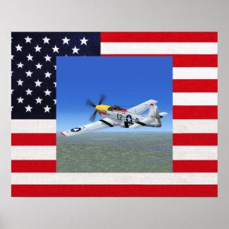 P51ムスタングの戦闘機ポスター ポスター
