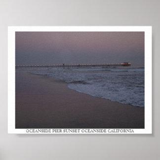 P6230015のオーシャンサイド桟橋の日没のオーシャンサイドCALIF… ポスター