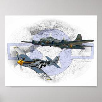 P-51ムスタングの飛んでいるな護衛 ポスター