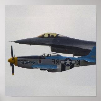 P-51ムスタング及びF-16ワシ ポスター