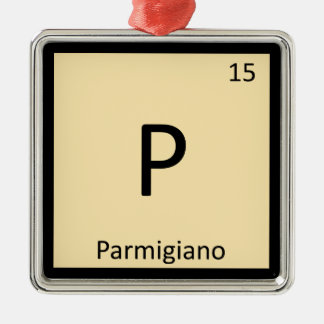 P - Parmigianoのチーズ化学周期表 メタルオーナメント