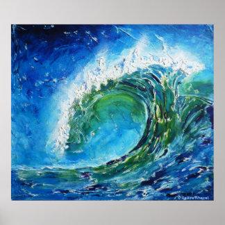 © P Wherrellのファインアートの油絵の波の海の海 ポスター