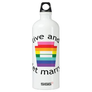 PAの生きている台形平等の虹はblkのフォントと結婚します ウォーターボトル