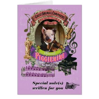 PaganiniのパロディのPiggienini動物作曲家のコブタ グリーティングカード