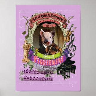 Paganini Spoof Parody Piggienini Cute Pig Composer ポスター