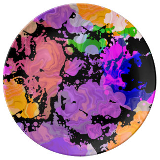 Paint Splash Splatter Print Plate 磁器プレート