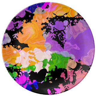 Paint Splash Splatter Print Plate (Orange Focus) 磁器プレート