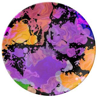 Paint Splash Splatter Print Plate (Purple Focus) 磁器プレート