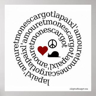 Paix、l'amourと月曜日のescargot ポスター