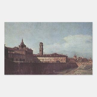 Palazzoの庭からのトゥーリンの眺め 長方形シール