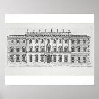 Palazzo Chigi、ローマのdesigneの正面の眺め ポスター