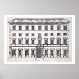 Palazzo Marchese、ローマのdesiの正面の眺め ポスター