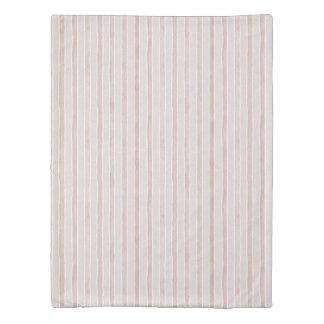 Pale Dogwood Pink Watercolor Stripe Pattern 掛け布団カバー