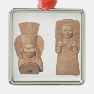 Palenqueからの女性の2つのテラコッタ姿、pla メタルオーナメント