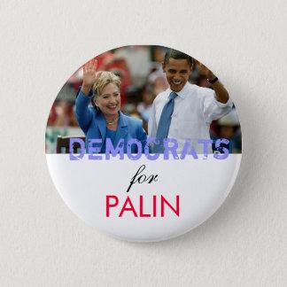Palinのための民主党員 5.7cm 丸型バッジ
