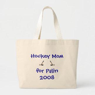 Palinの2008年のトートのためのホッケーのお母さん ラージトートバッグ