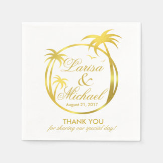 Palm Beachの熱帯ロゴ|ののどの金ゴールドホイル スタンダードカクテルナプキン
