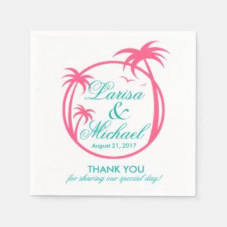 Palm Beachの熱帯ロゴ|のショッキングピンクの水 スタンダードカクテルナプキン