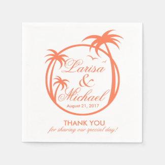 Palm Beachの熱帯ロゴ|のモモの白 スタンダードカクテルナプキン