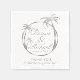 Palm Beachの熱帯ロゴ|の模造のな銀ぱく スタンダードカクテルナプキン
