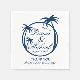 Palm Beachの熱帯ロゴ|の濃紺 スタンダードカクテルナプキン