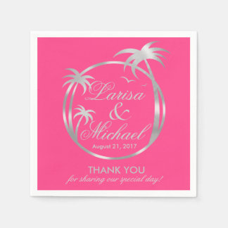 Palm Beachの熱帯ロゴ|の銀ぱくの明るい赤紫色 スタンダードカクテルナプキン