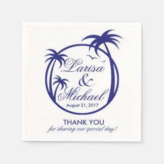 Palm Beachの熱帯ロゴ|海軍白 スタンダードカクテルナプキン