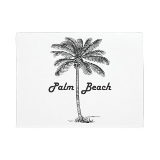 Palm Beachフロリダ及びやし白黒デザイン ドアマット