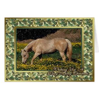 Palominoのクォーター馬のブランクのクリスマスカード カード