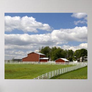 Pamona、カンザスの赤い納屋そして農場 ポスター