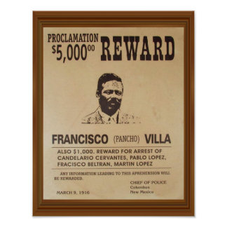 Panchoの別荘のヴィンテージはポスター報酬がほしいと思いました ポスター