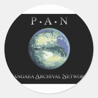Pangaeaの記録保管ネットワークの円形のステッカー ラウンドシール