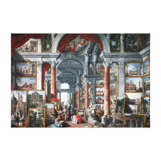 Pannini -モダンなローマの眺めのギャラリー キャンバスプリント