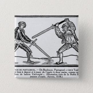 Pantagruelの教育、イラストレーション 5.1cm 正方形バッジ