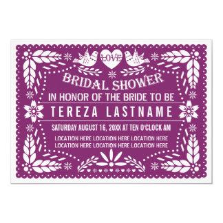 Papelのpicadoのモダンな紫色の結婚のブライダルシャワー カード