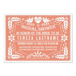 Papelのpicadoの仲の良い恋人同士の珊瑚の結婚のブライダルシャワー カード