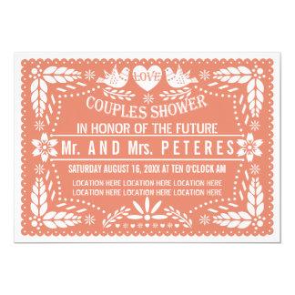 Papelのpicadoの珊瑚の結婚式のカップルのシャワー カード