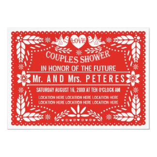 Papelのpicadoの赤い結婚式のカップルのシャワー カード