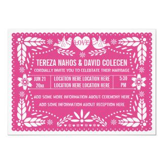 Papelのpicado愛鳥のショッキングピンクの結婚式 カード
