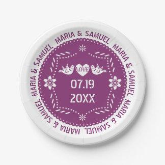 Papelのpicado愛鳥の紫色のメキシコ結婚式 ペーパープレート