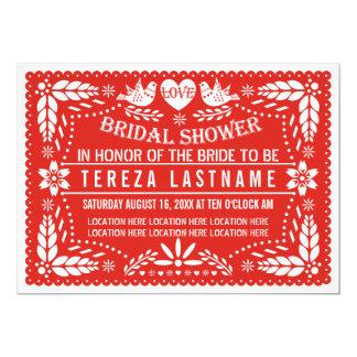 Papelのpicado愛鳥の赤い結婚のブライダルシャワー カード
