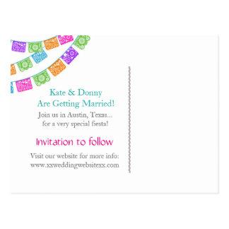 Papel Picadoの結婚式の保存日付の郵便はがき ポストカード