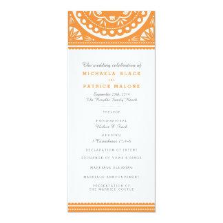 Papel Picadoの結婚式プログラム-オレンジ 10.2 X 23.5 インビテーションカード