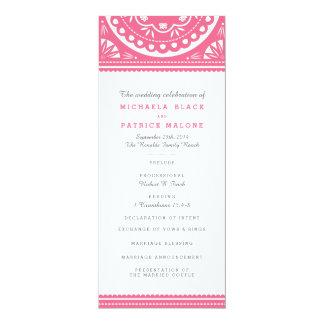 Papel Picadoの結婚式プログラム-ピンク 10.2 X 23.5 インビテーションカード
