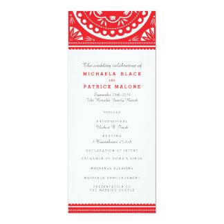 Papel Picadoの結婚式プログラム-赤 10.2 X 23.5 インビテーションカード