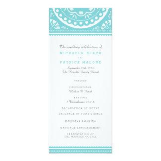 Papel Picadoの結婚式プログラム-青 10.2 X 23.5 インビテーションカード